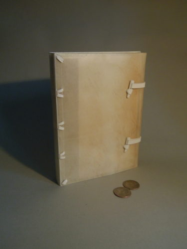 A limp vellum binding with alum-tawed thongs laced into the case and a horn toggle closure at the foredge. The extended cloth spine lining is visible through the parchment.